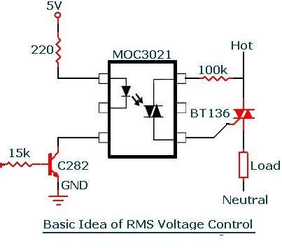 moc3021 Dimmer voltage control application