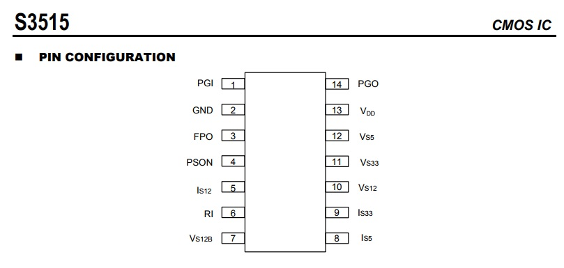 CMOS S3515 pinout