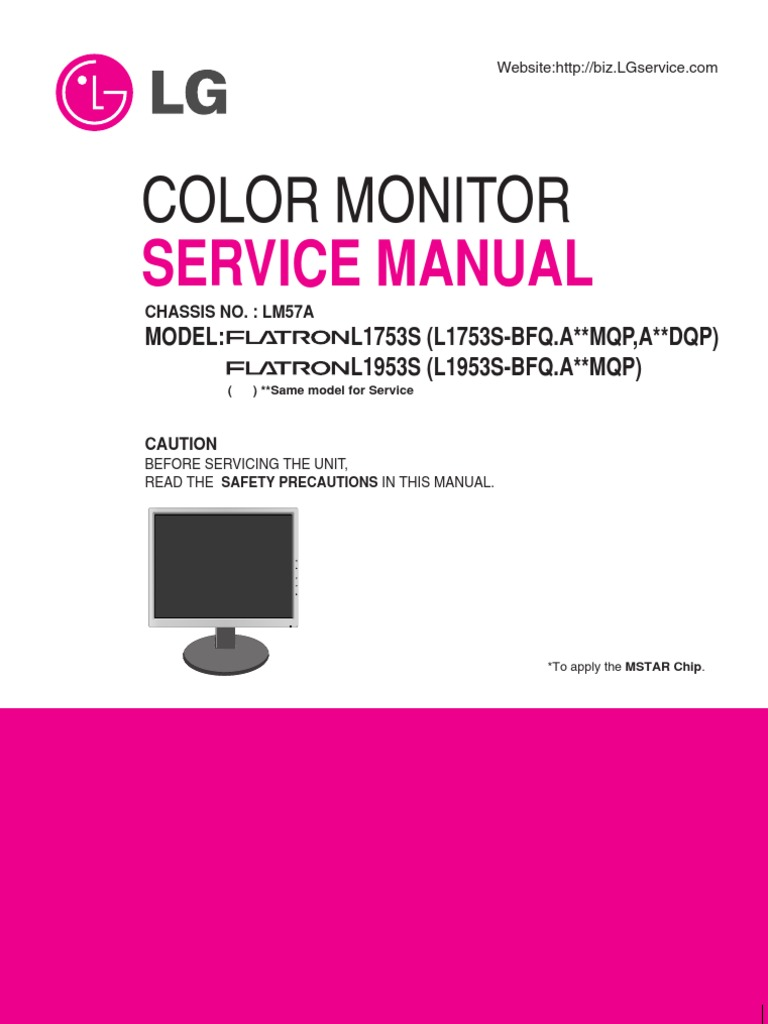 Service Manual Color Monitor Lcd Lg L1753s Download