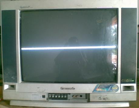 tv kondisi cacat vertikal garis melintang horizontal